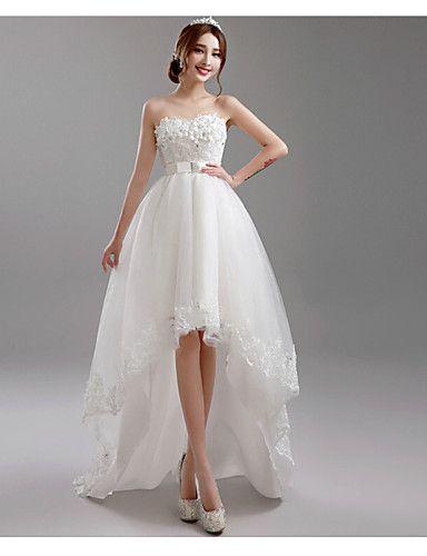 Vestido de Noiva - Branco Trapézio Coração Assimétrico/Mullet Tule de 2015 por R$457,16