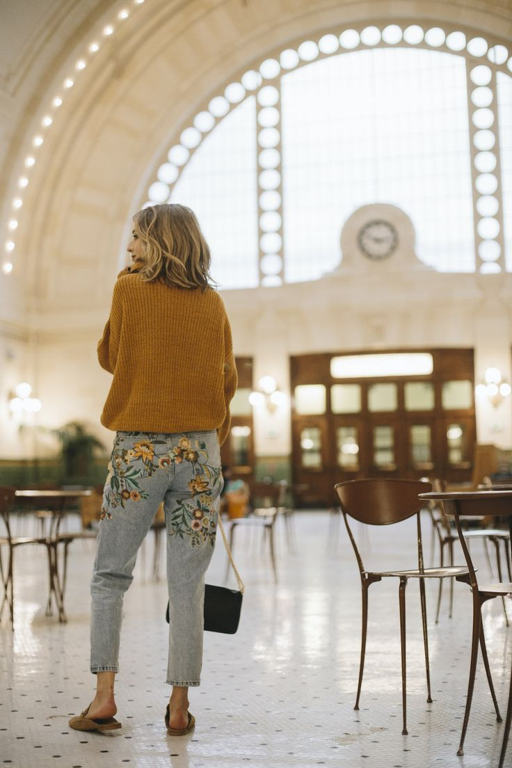 Embroidered jeans, mustard cardigan