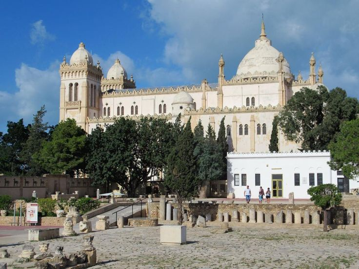 The Carthage National Museum occupies the the seminary of the colonial-era Cathédrale Saint Louis on the site of ancient Carthage near Tunis, Tunisia.