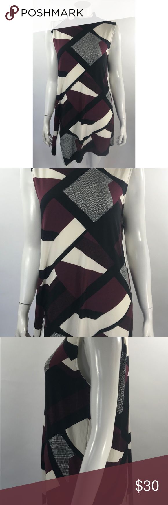 Alfani Sleeveless Tunic Top XL Maroon Black White Alfani Womens Sleeveless Tunic Top XL Maroon Black White Geometric Stretch NEW. Measurements: (in inches) Underarm to underarm: 20 Length: 35  New with tags. Alfani Tops Tunics