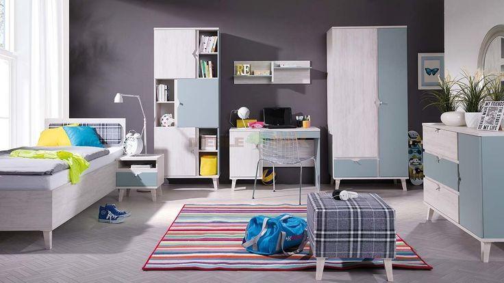 Meble do pokoju dziecka z łózkiem 90x200 Memone 2 dąb biały + dusk blue - Meble GiB - sklep meblowy Meble BIK