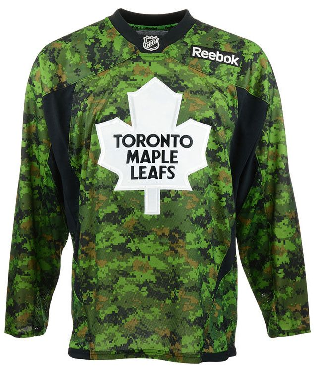 The Toronto Maple Leafs Camo Jersey from Reebok® is an officially licensed jersey is engineered to duplicate the on-ice team jersey. #leafs