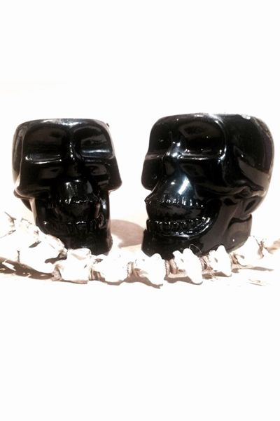 Black Skull Chocolate Candle, Unique skull candle made with chocolate scented soy wax.