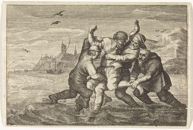 Albert Poel   Gevecht aan zee, Albert Poel, Adriaen Pietersz. van de Venne, Jan Evertsz Cloppenburgh (II), 1624   In de vloedlijn aan een strand wordt een man door drie vissers in toom gehouden. Op de achtergrond liggen op het strand  twee boten en er lopen enkele wandelaars. Achter de duinenrij een vuurtoren en een kerk.