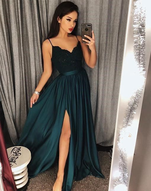 fb8e341a26c7 Spaghetti+Straps+Dark+Green+Prom+Dress+with+Slit  Made+to+order,+can+be+made+with+any+change Shown+Color:+Dark+Green ...
