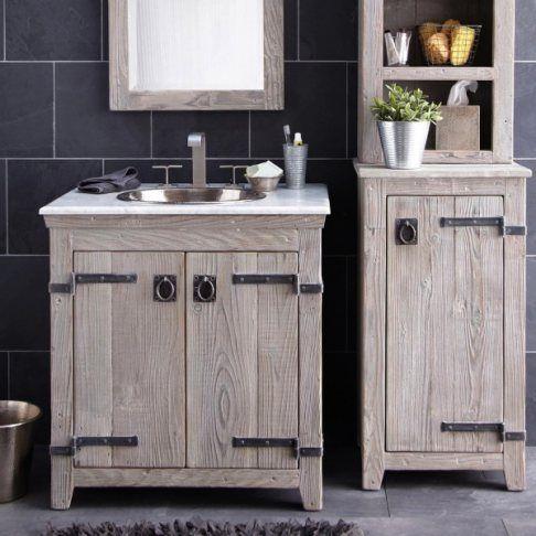 Furniture Creative Distressed Wood Bathroom Vanities Using