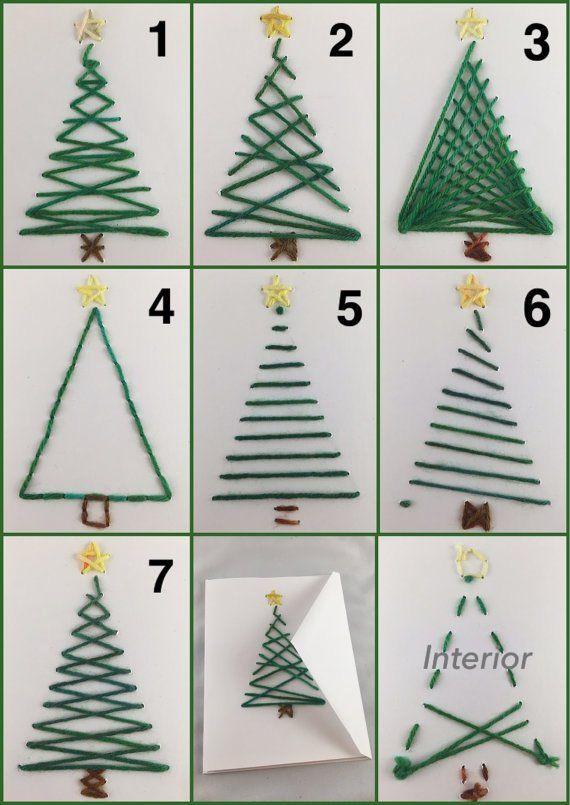 Weihnachtskarte, Perlen-Karte, Karte, Baum mit Ornamenten, Weihnachtsbaum, Schrott-Garn-Karte, von Hand genäht