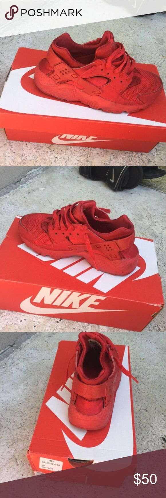 Nike hurache Good condition used all red comfortable sneakers Nike Shoes Sneakers