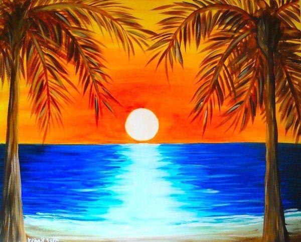 Easy Sunset Landscape Painting Imgurl Sunset Landscape Painting Sunset Painting Easy Landscape Paintings Acrylic