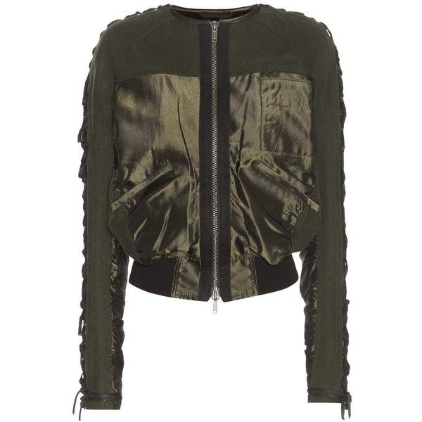 Haider Ackermann Wool Bomber Jacket ($2,665) ❤ liked on Polyvore featuring outerwear, jackets, green, green jacket, woolen jacket, flight jackets, bomber jackets and blouson jacket
