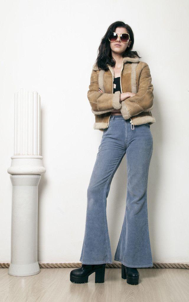 High waisted corduroy flares 70s vintage hippi... - SilkFred