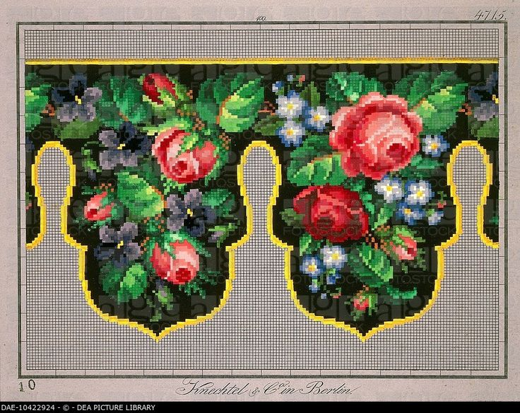 Embroidery, Germany 19th century. Pelmet pattern with roses, violets and forget-me-not. DAE-10422924 © DEA PICTURE LIBRARY