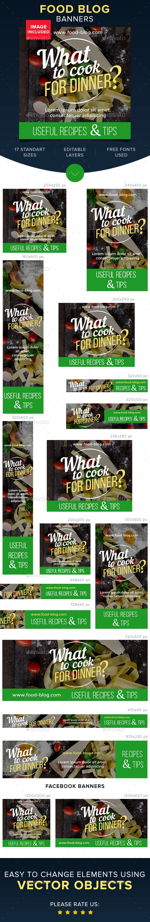 Food Blog Banners /web banners design made by Artem-ova on Enavato/