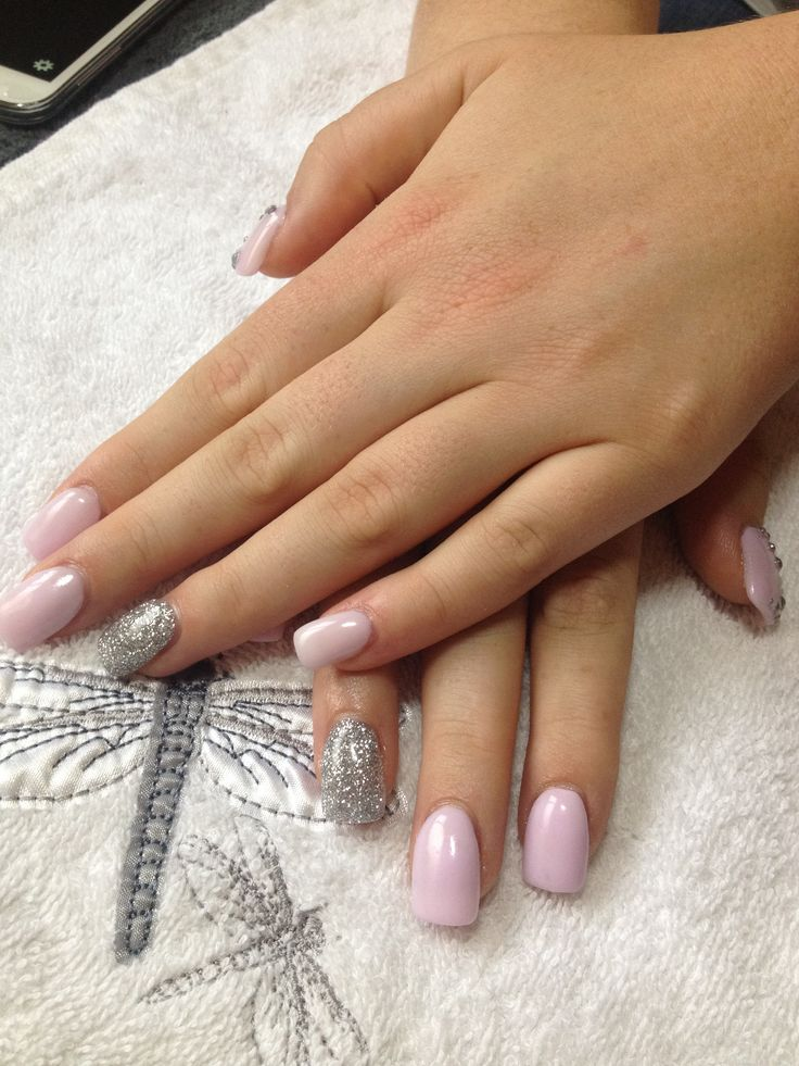 Pink And Silver Glitter With Images Silver Glitter Nails Glitter