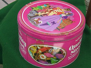 Quality Street in a proper big tin. A real treat at Christmas time, watching a film.The chocolates don't seem as nice these days, and there's less of them!