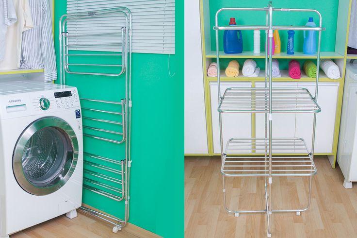Varal de roupas de chão portátil torre - Poupe Espaço ao Secar Roupas