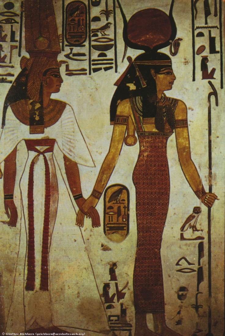 Painting in the tomb of the Queen Nefertari, showing the ...