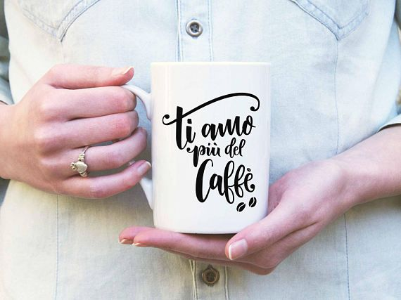 "Hand Lettered Ti amo più del caffè SVG Cut File and Printable File ""I love you more than coffee"" #handmade #italianlettering"