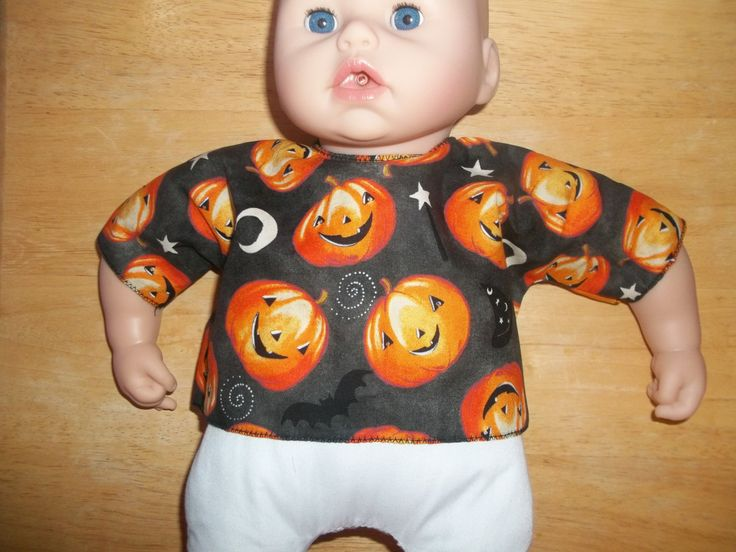 Big 18 Baby Doll clothes top black with pumpkins and moons by…