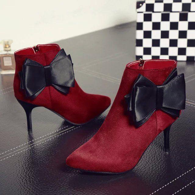 Pas cher La station Europe stiletto couleur unie arc femmes coréennes bottes fines avec imperméable Taiwan chaussures femmes glissière latérale bottes # 791, Acheter  Bottes pour femmes de qualité directement des fournisseurs de Chine: