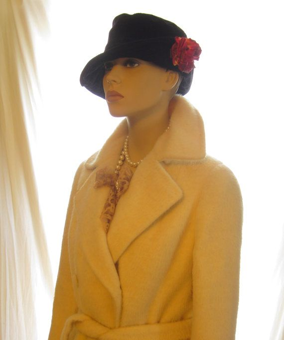 Vintage black cotton women's winter hat, flapper dress hat, fancy ladies great gatsby accessories, 1920s flapper hat, gatsby accessory hat by 777DressCode