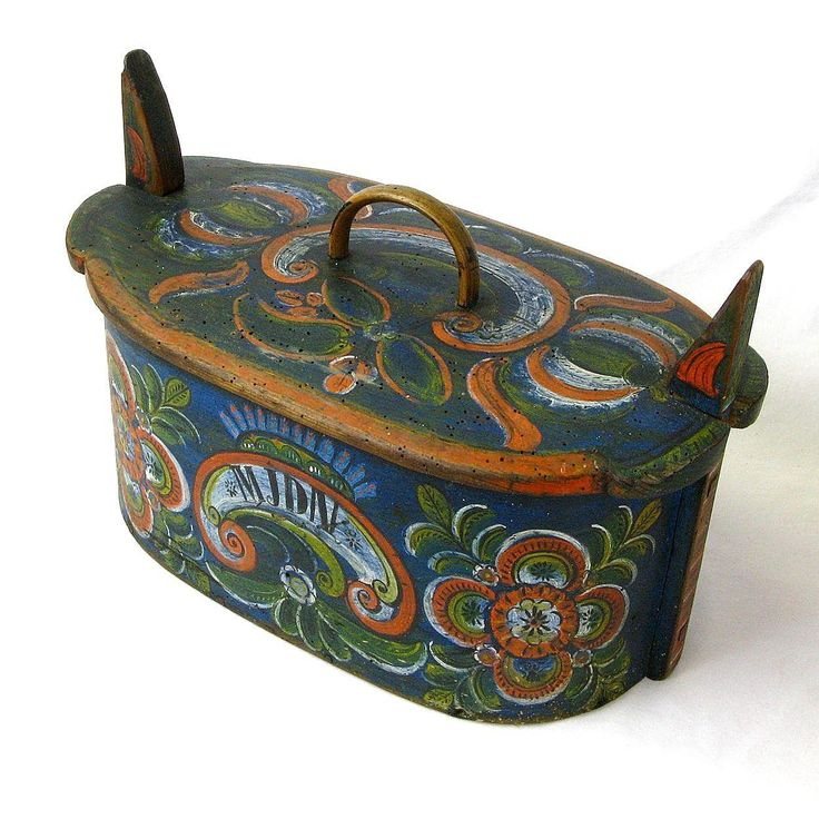 Norwegian Os Rosemaling Decorated Tine Box, Annias / Midthus Tveit, from sweetpeacottage on Ruby Lane
