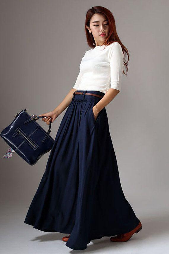 He encontrado este interesante anuncio de Etsy en https://www.etsy.com/es/listing/195901107/maxi-falda-falda-larga-falda-azul-marina