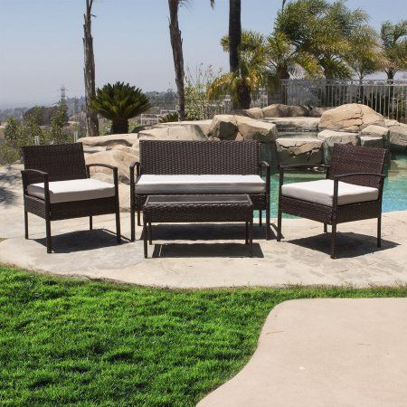 Free Shipping. Buy Belleze 4 PCS Outdoor Garden Patio Rattan Furniture Sets Cushioned Seat Wicker, Brown at Walmart.com