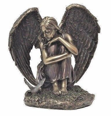 Guardian Angel Sitting with Dove Beautiful Bronze Style Spiritual Figure