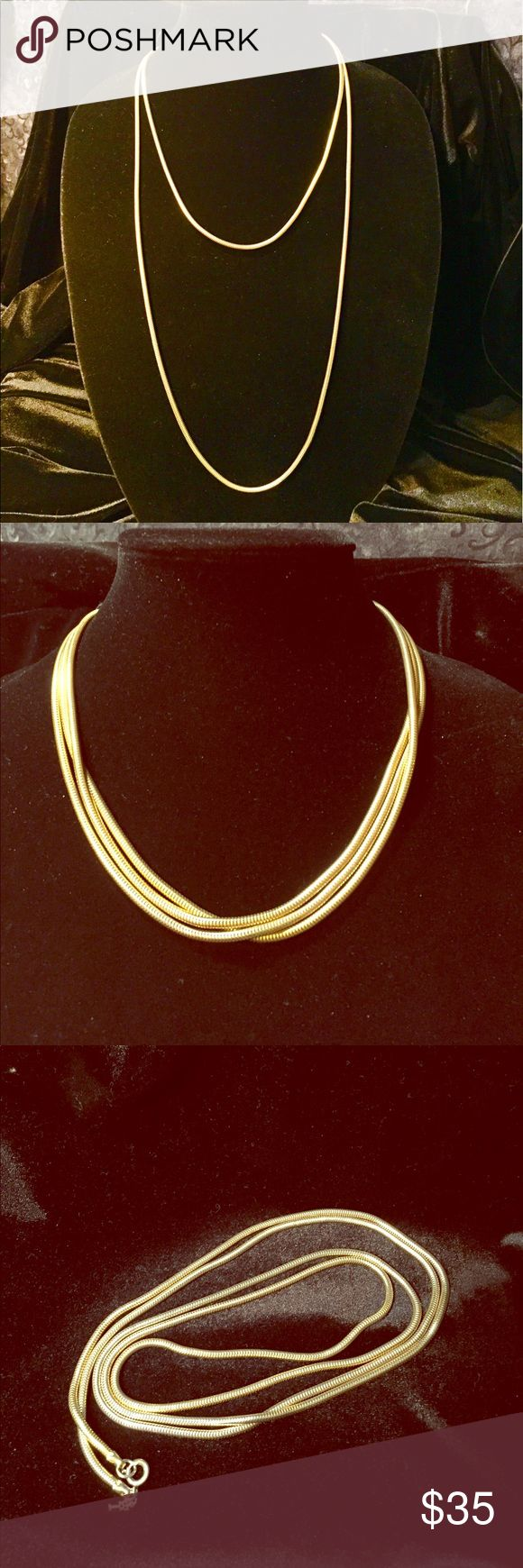 Vintage Trifari chain necklace Vintage Trifari super long snake chain Gold tone necklace  Measures 54 inches in length. Vintage Jewelry Necklaces