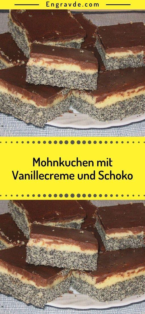 Mohnkuchen Mit Vanillecreme Und Schoko Mohnkuchen Backzutaten Vanillecreme