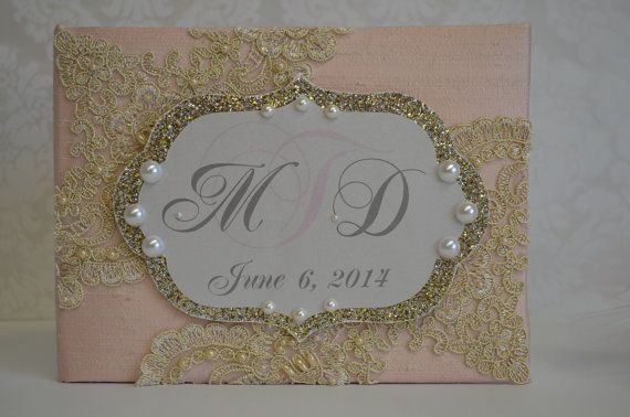 Blush and Gold wedding guest book Monogram and by ForeverLoveNotes, $45.00