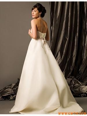 klasyczny bez ramiączek aplikacja projektant organza suknia ślubna 2013
