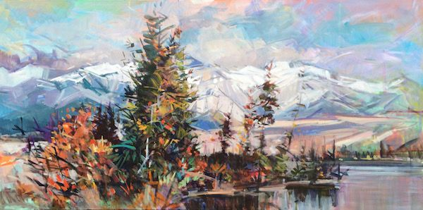 "'Roche Miette Area' 48"" x 96"" Acrylic on Canvas by Alberta artist Jim Vest"