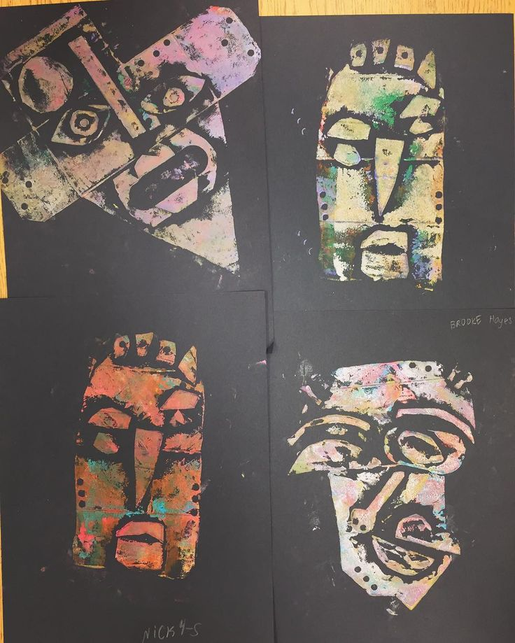 Kimmy Cantrell inspired printmaking...cardboard print block faces #4thgrade