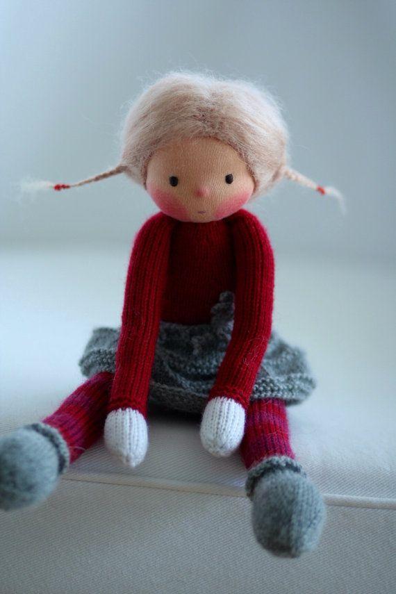 Waldorf knitted doll Josefa 13 by Peperuda dolls by danielapetrova