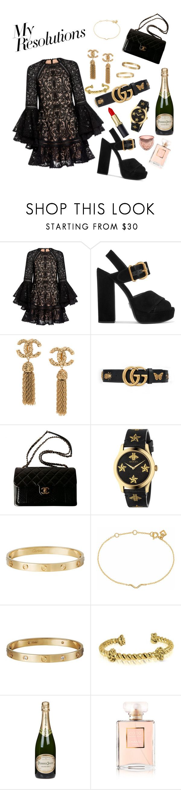 """""""#PolyPresents: New Year's Resolutions"""" by portiapco ❤ liked on Polyvore featuring Alexis, Prada, Gucci, Chanel, Cartier, Maya Magal, Aurélie Bidermann, Perrier-JouÃ«t, Too Faced Cosmetics and contestentry"""
