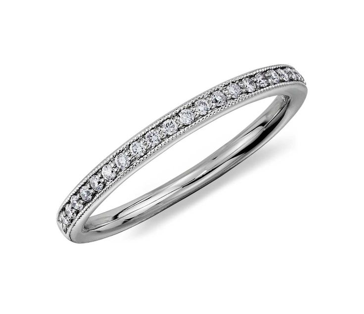 Trendy Riviera Pav Heirloom Diamond Ring in Platinum ct tw White Gold Wedding