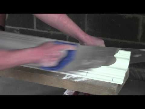 Plaster Coving Installation - How To Cut An Internal Mitre - YouTube