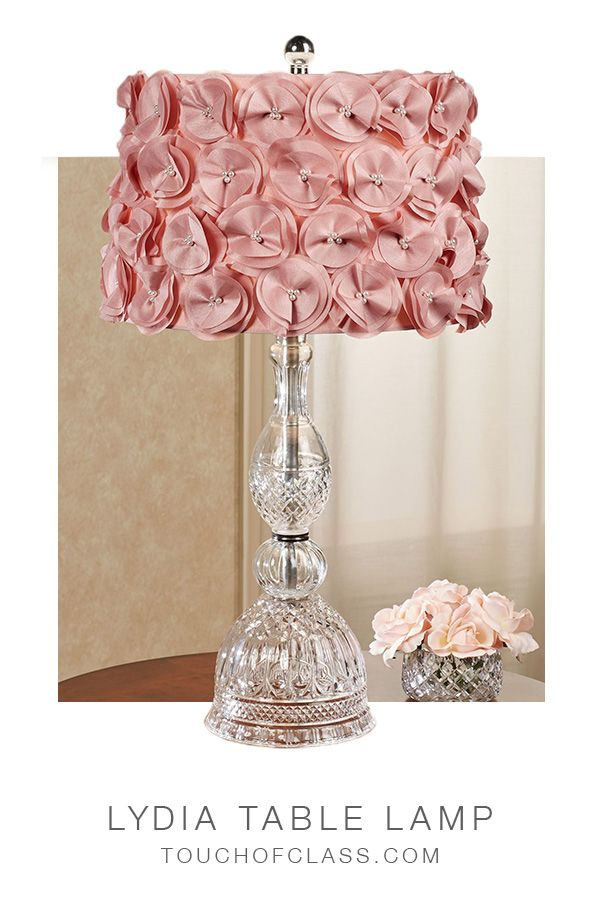 Lydia Clear Glass Table Lamp With Blush Flower Petal Fabric Shade Pink Lamp Shade Lamp Glass Table Lamp