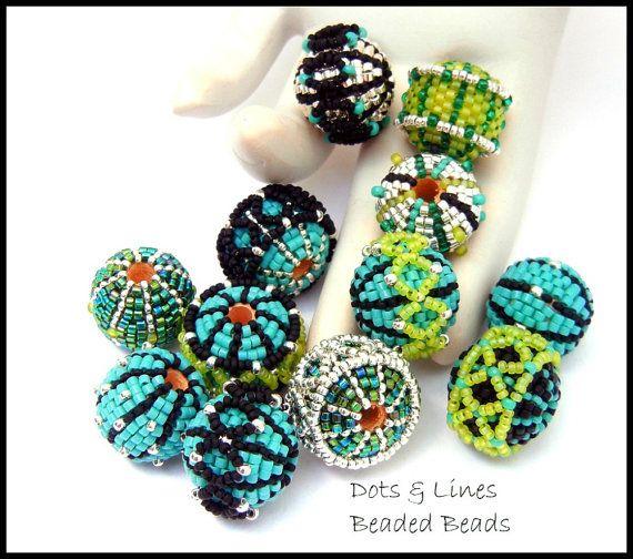 Beaded Bead Tutorial - Dots & Lines Design Suite - peyote stitch instant…