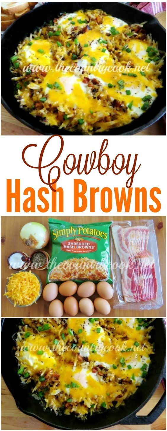 Cowboy Hashbrown Skillet recipe from The Country Cook. Eggs, bacon, cheese, hash browns. We love it for breakfast, lunch or dinner!