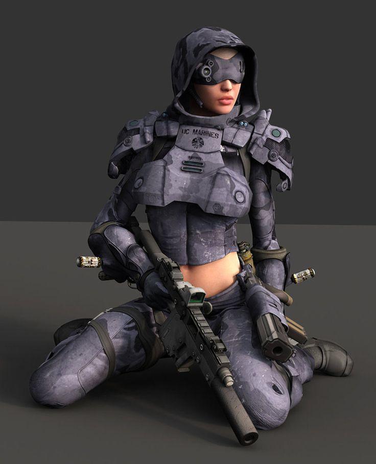 Urban Scout 3 by ~pjacubinas # cyberpunk, robot girl, cyborg, futuristic, android, sci-fi, science fiction, cyber girl, digital art