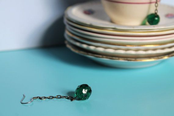 Emerald Green Dangle Earrings Vintage Beads by comeandplaybetsymay