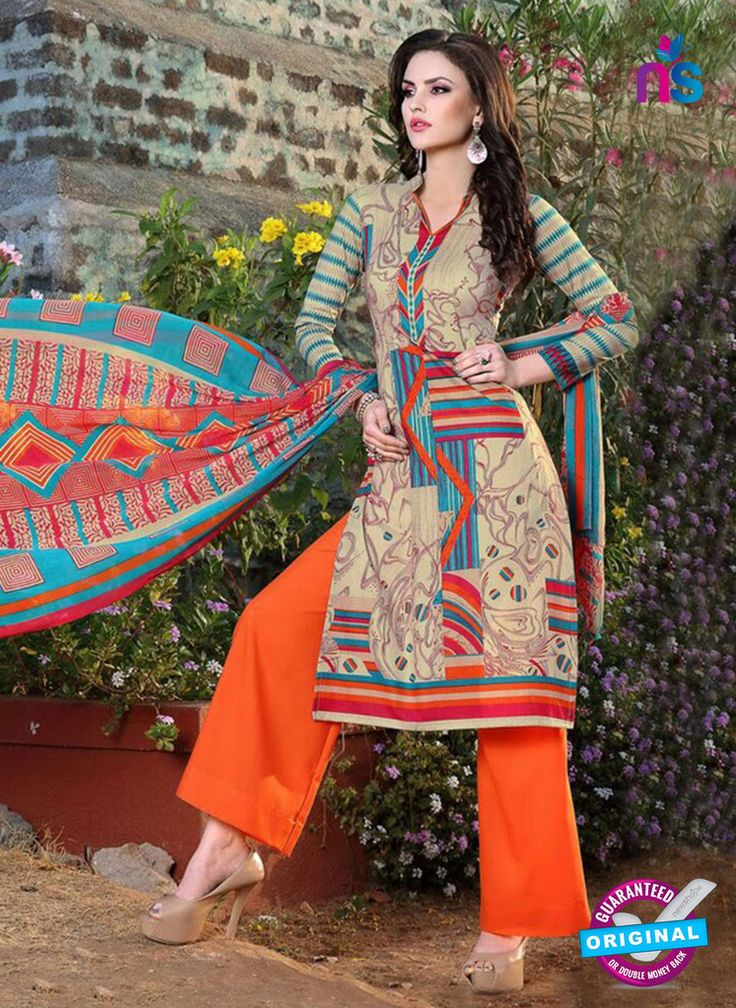 SC 12968 Beige and Orange Printed Pure Cotton Salwar Suit