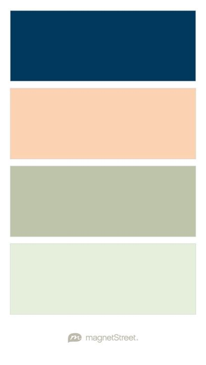 Navy, Peach, Sage, and Mint Wedding Color Palette - custom color palette created at MagnetStreet.com