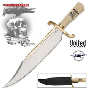 The Expendables Bowie Knife: $99.99 - Master knife maker Gil Hibben designed this bowie for the Expendables movie. Knife has a stabilized synthetic ivory handle accented by the gold-plated blade catcher and guard. Artwork from the Expendables movie is featured on the handle and the gold-plated guard offers cast star designs on both ends. 14 inch blade is constructed from polished stainless steel. Includes a custom black leather sheath with Hibben Knives logo.