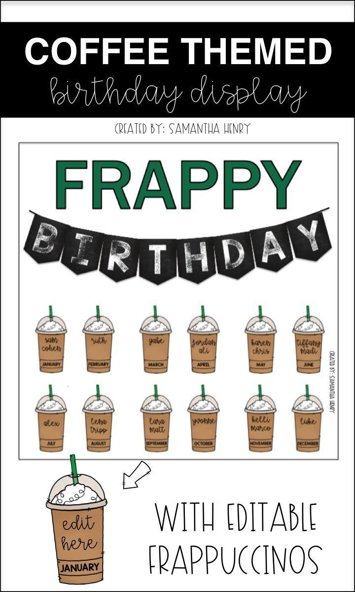 Coffee Birthday Bulletin Board Frappy Birthday Editable Birthday Board Classroom Classroom Birthday Birthday Bulletin Boards