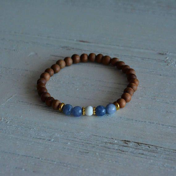 Aquamarine Howlite and aromatic sandalwood bracelet with gold