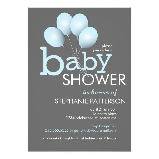 481 best balloon baby shower invitations images on pinterest modern blue balloon boy baby shower invitation filmwisefo